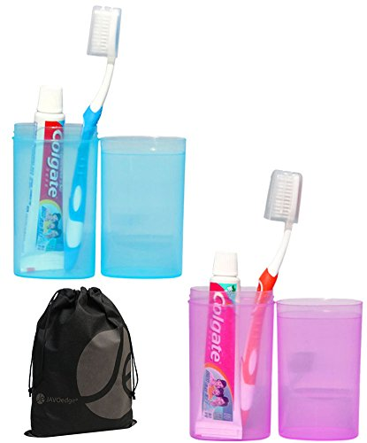 JAVOedge 2 Pack Bundle of Blue and Pink Easy Clip Compact Travel Toothbrush and Toothpaste Holder plus Bonus Storage Bag