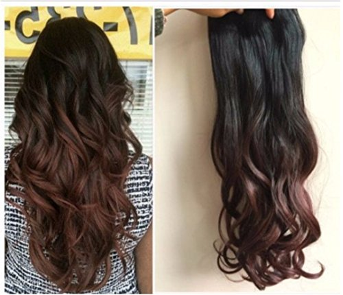 Thick One Piece Ombre Clip in Hair extensions Long Straight Wavy Curly Synthetic Hairpieces Col Natural blackdark auburn 20 Wavy DL