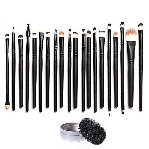 Ucanbe Pro 20 Pieces Makeup Brush Set with Cosmestics Brushes Cleaner - Color Removal Sponge
