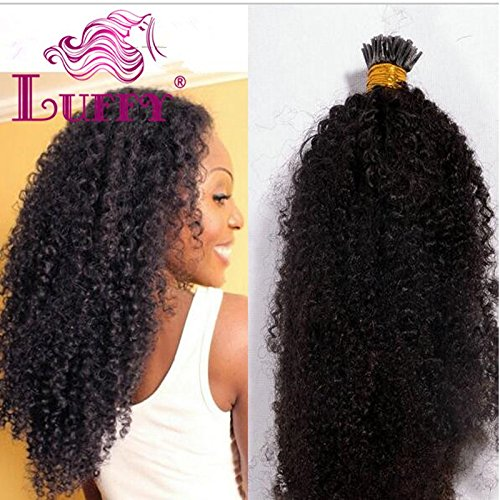 8A Brazilian Virgin Hair Weave Afro Kinky Curly 1gStrand 100g I Tip Human Hair Extensions For Black Women Natural Color Bundles 14 Inch