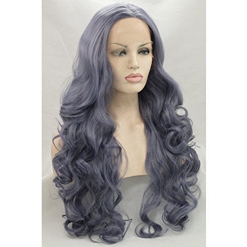 Kryssma Halloween Womens Long Wavy Synthetic Hair Replacement Wigs Light Purple Grey Lace Front Wig Side Part For Cosplay Heat Resistant Fiber Half Hand Tied For Christmas 24 Inches