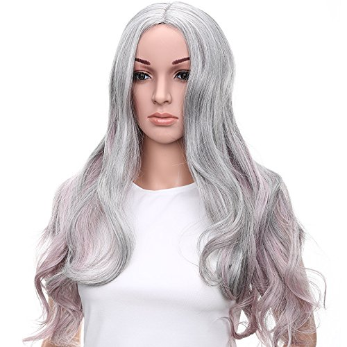 Netgo Grey Ombre Wigs Heat Resistant Synthetic Two Tone Ombre Wigs for Black Women