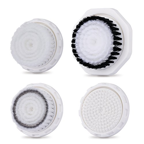 Professional Replacement Facial Cleansing Brush Heads for TECBEAN MiroPure Sonic Vibration Facial and Body Cleansing Brush 4 PCs