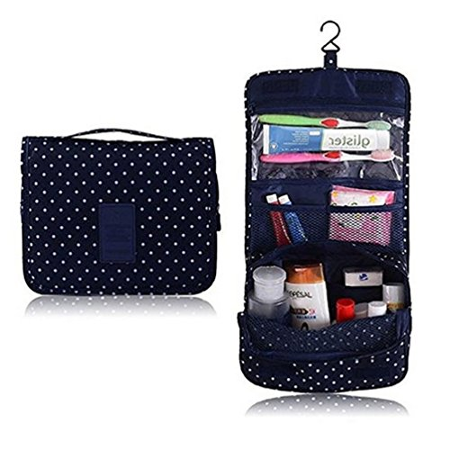 ColorMixsHanging Toiletry Cosmetics Travel Bag Cosmetic Carry Case for Woman Man Travel Organization Gift Navy Circle
