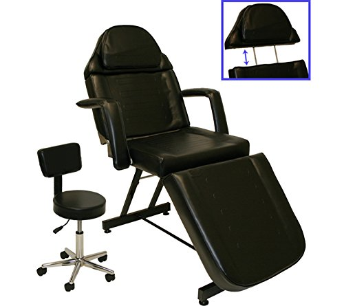 Black Adjustable Tattoo Massage Facial Table Bed Chair Barber Beauty Salon Spa Equipment