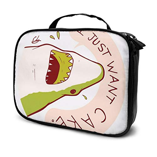 PLb75gimm Cake Shark Just Wants Cake Makeup Train Cases Professional Travel Makeup Bag Cosmetic Cases Organizer Portable Storage Bag for Cosmetics Makeup Brushes Toiletry Travel Accessories