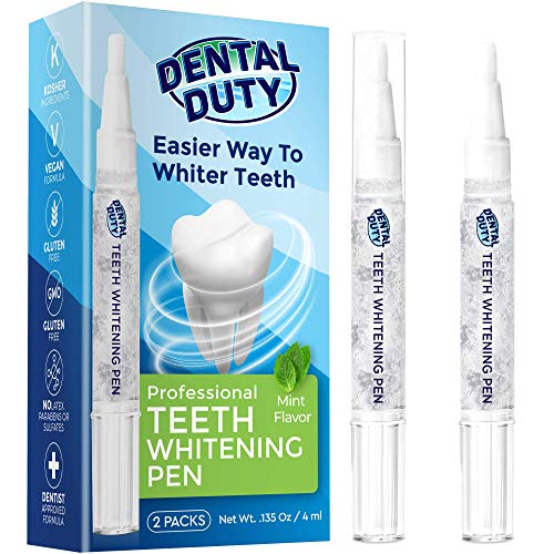Dental Duty Teeth Whitening Pen 2 Pens 35 Carbamide Peroxide Gel 30Uses Stain Remover For Beautiful Pearl White Smile Best Effective Tooth Whitener Bright Flawless Smile Natural Mint Flavor