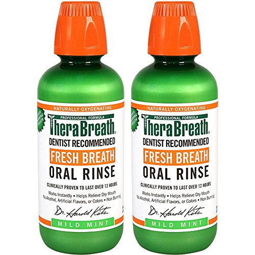 TheraBreath Dentist Recommended Fresh Breath Oral Rinse - Mild Mint Flavor 16 Ounce Pack of 2
