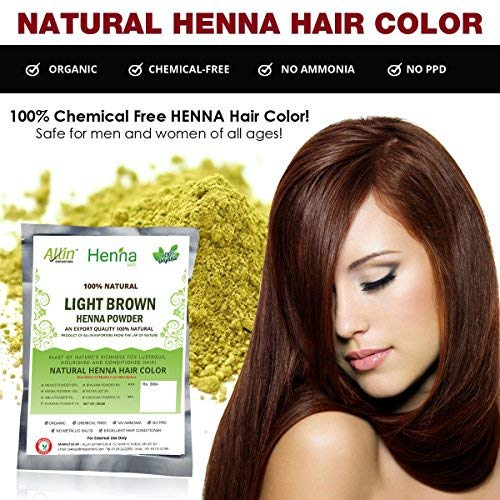 Allin Exporters Light Brown Henna Hair Color - 100 Organic and Chemical Free Henna for Hair Color Hair Care - 120 Gram  2 Packet