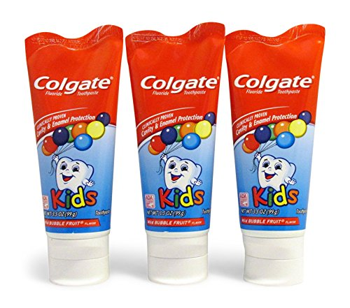 Colgate KIDS 35 oz 3-PACK Mild Bubble Fruit Flavor Toothpaste Fluoride Cavity Enamel Protection
