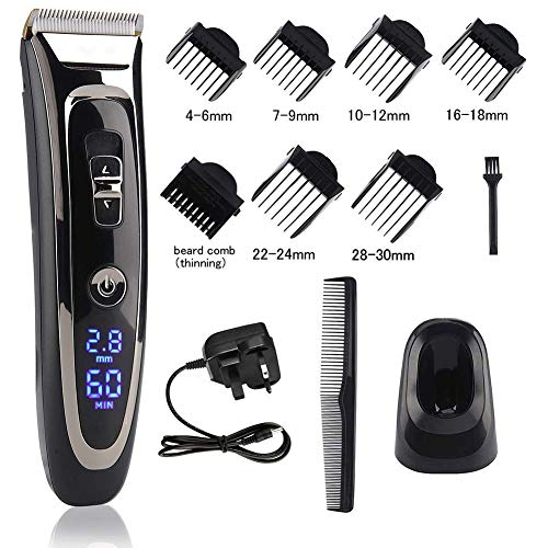 Cordless Hair Clipper Set Rechargeable Electric Hair Trimmer Mens Grooming Kit Hair Cutting Machine with LED Display Waterproof Ceramic Blade Hair Shaver Beard Trimmer 2 In1 for Men Kids Barbers