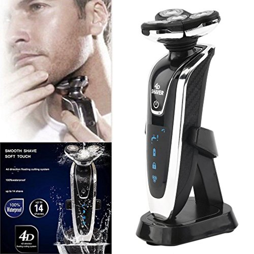 Deluxe Men 4D Rechargeable Washable Rotary Shaver Cordless Electric Beard Razor