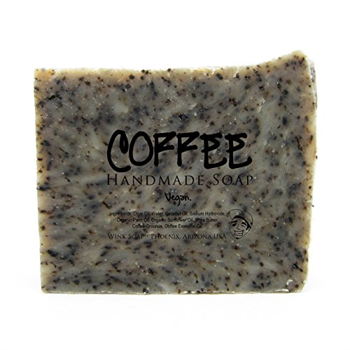 Coffee Handmade Soap Best Exfoliating Soap Scrub to Remove Odors Reduce Cellulite with Real Coffee Grounds Vegan Organic 100 Natural