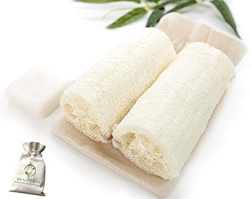 Natural Loofah Exfoliating Body Sponge - Loufa Shower Scrub with Cotton Handle - Goat Milk Soap Skin Care Cleanse 35oz - Luffa Sponge Bath Scrubber Lofa Loofa for Men and Women-2Pack6 x 35 Inches
