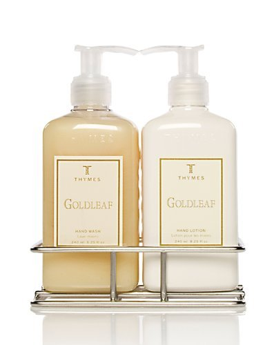 Thymes Hand Wash and Lotion with Chrome Caddy Sink Set Goldleaf by Thymes