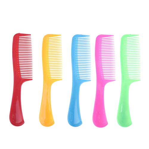 Lurrose 15 pcs Colorful Hair Combs Set Plastic Long Handle Detangling Hair Comb Wide Tooth Hairdressing Comb for Home Salon