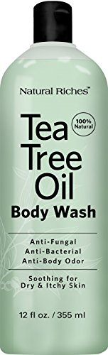 Antifungal Tea Tree Oil Body Wash Peppermint Eucalyptus Oil Antibacterial Soap by Natural Riches -12 oz Helps Athletes Foot Eczema Ringworm Toenail Fungus Jock itch Body Itch Body Odor Acne
