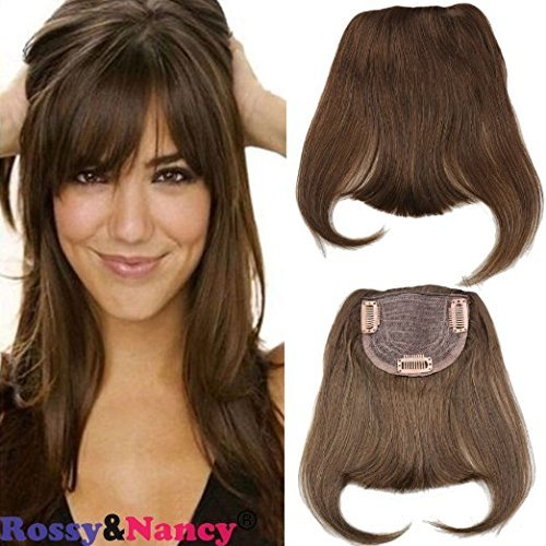 Rossy&Nancy 4 Brazilian Human Hair Clip-in Hair Bang Full Fringe Short Straight Hair Extension for women 6-8inch