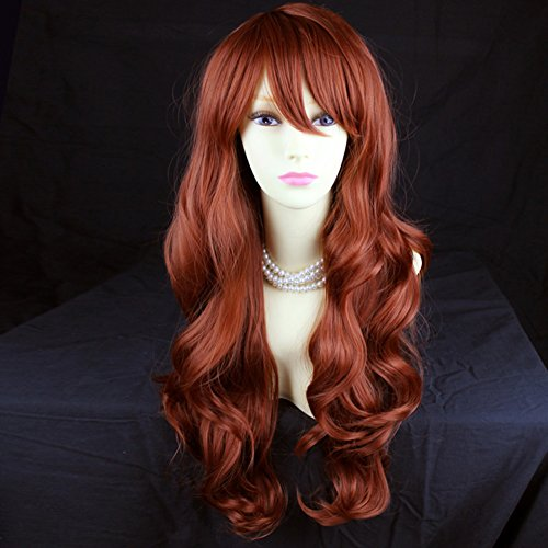 Wonderful Long Layered Wavy Fox Red Ladies Wig From