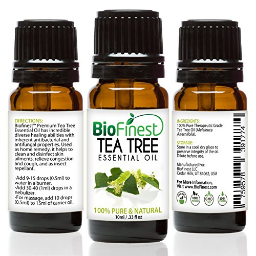 BioFinest Tea Tree Oil - 100 Pure Tea Tree Essential Oil - Therapeutic Grade - Australia Premium Quality - Best For Aromatherapy Acne Skin Tag Removal - Gift and Travel Packaging 10ml