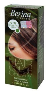 Berina Permanent Hair Dye Color Cream  A31 Blonde Gray Green Made in Thailand