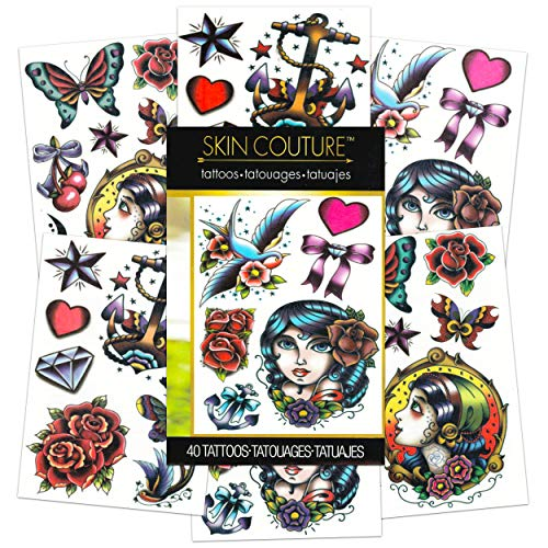 American Traditional Temporary Tattoos for Women Men Adults -- 40 Bold Classic Tattoos with Vintage Designs