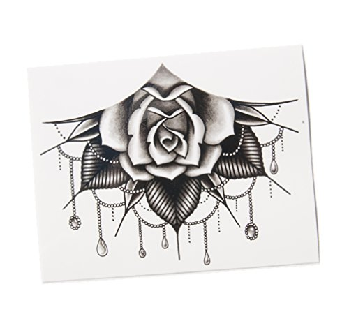 TattooYou Jeweled Rose Temporary Tattoo for Women - Finest Quality Black Temporary Sternum Tattoo - Hand Drawn Design by Tim Hendrix Alysha Nett - 625 by 5 Inches