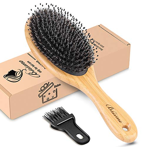 Hair Brush-Oval Boar Bristle Hair Brush for Women Men Girls Bamboo Paddle Detangler Hairbrush for Thick Long Curly Frizz Wet Dry Hair Daily Use for Adding Shine Building Healthier Hair
