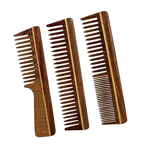 Handmade Hair Care Wooden Tooth Anti Static Comb Set of 3 Made of Sheesham Rosewood