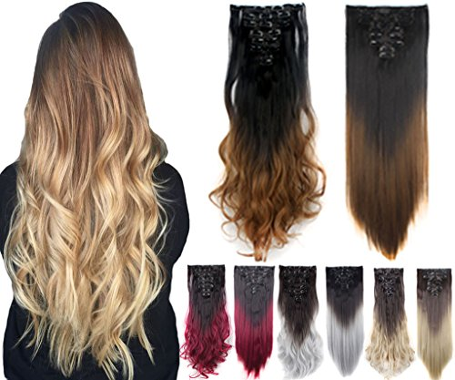3-5 Days Delivery 8 pcs 24-26 Two Tone Straight Full Head Ombre Dip Dyed Loose Curls Wavy Curly Clip-in Hair Extensions 5 Colors