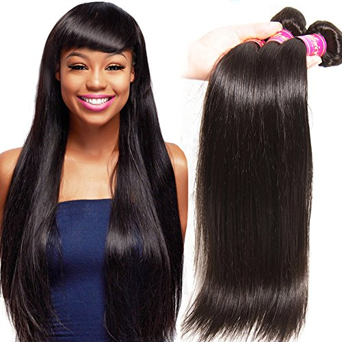 Unice Hair 6a Brazilian Straight Hair 3 Bundles Mixed of 18inch 20inch 22inch Natural Black Color Virgin Brazilian Straight Weave Human Hair Extensions