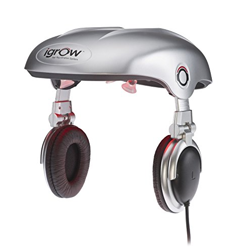iGrow Hands-Free Laser LED Light Therapy for Hair Regrowth Rejuvenation FDA-Cleared Hair Loss Balding and Thinning for Men and Women with Built-In Headphones Improves Thickness Volume Density