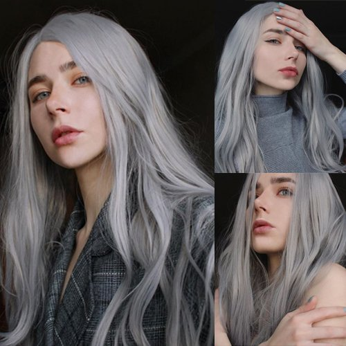 Blue Bird Womens Long Straight Tip Wavy Ash Gray Front Lace Wig Synthetic Hair Replacement Wigs Free Part Layered Hairstyles with Free Hair Cap