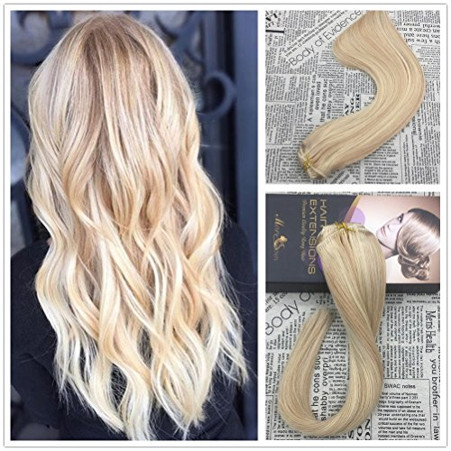 Moresoo 18 Inch Clip In Human Hair Extensions Two Tone Colorful Honey Blonde And Bleach
