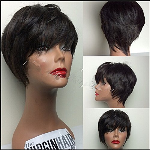 Lisahairfactory Glueless Silky Straight 130 Density 100 Brazilian Virgin Human Hair Short Bob Wigs Lace Front Natural Black 8 inch For Women