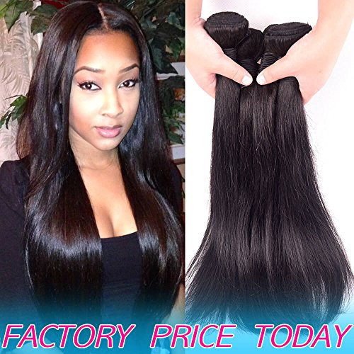 Brazilian Virgin Human Hair Wavy 4 Bundles Deals Best Unprocessed Straight Peruvian Remy Hair Weave Products Cheap 8A Indian Natural Black Hair Extensions 24 24 26 26 inch