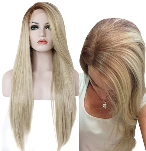 Ebingoo Blonde Lace Front Synthetic Wigs Natural Straight Heat Resistant Hair Wig for White Women18inches by Ebingoo