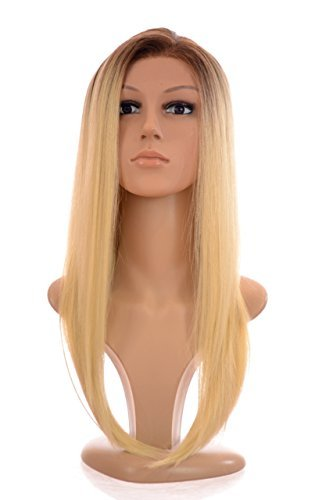 Long Straight Bleach Blonde Lace Front Wig with Dark Root Effect  Human Hair and Fibre Blend