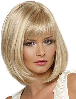 Blonde Bob Wigs for White Women Short Straight Hair Wig with Bangs Full Synthetic Wigs for Daily Wear P037