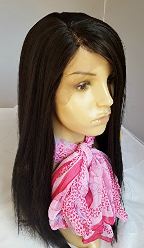 20-22 Long Darkest Brown2 Lace Front Wig Silky Straight Hair Synthetic Kanekalon Heat Friendly Fire Resistant Fiber Glueless for African Black Women