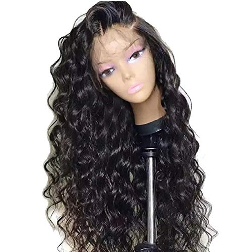 FAT SHEEP Deep Curly Lace Wig Brazilian Remy Lace Front Wigs For Black Women 100 Human Hair Lace Front Wigs With Baby Hair Pre Plucked24Inches180Natural Color