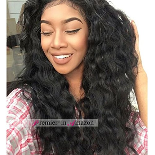 Premier 140 Dendity Weavy Human Hair Wig Brazilian Remy Human Hair Lace Front Wigs For Black Women Glueless Brazilian Loose Wave Wigs 20 Inch Natural Color Body Wave Human Hair Wigs