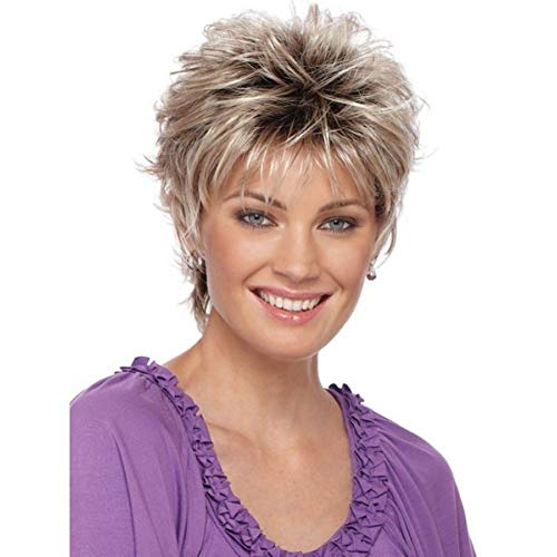 bromrefulgenc Women Short Curly WigWomens Fashion Short Haircut Shag Short Curly Ombre Wig with Cap Party Club for Daily Wear Costume Masquerade Party -Grey