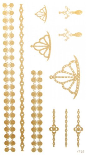 SPESTYLE waterproof non-toxic temporary tattoo stickerslatest new design waterproof Jewelry Crown Earrings gold temporary tattoos for necklaces bracelets anklets