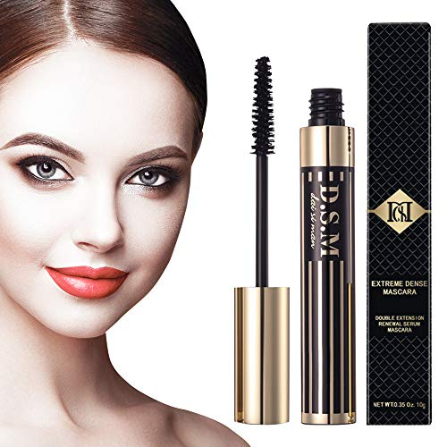Double Extension Waterproof Mascara Nature Thick and Lengthening Mascara Long Lasting No Flake Smudge-proof Clump-free Black Mascara 035 fl oz