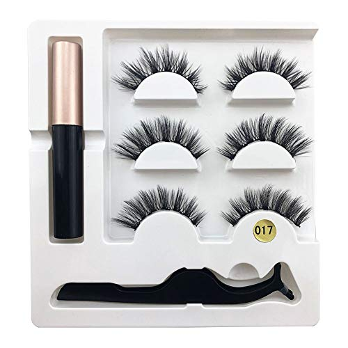 LOVFASHION 3 Pairs False Eyelashes Set with Glue Lashes Handmade False Eyelashes Pack Professional Fake Eyelashes PackNatural Soft Mink Lashes with Eye Lash Tweezers