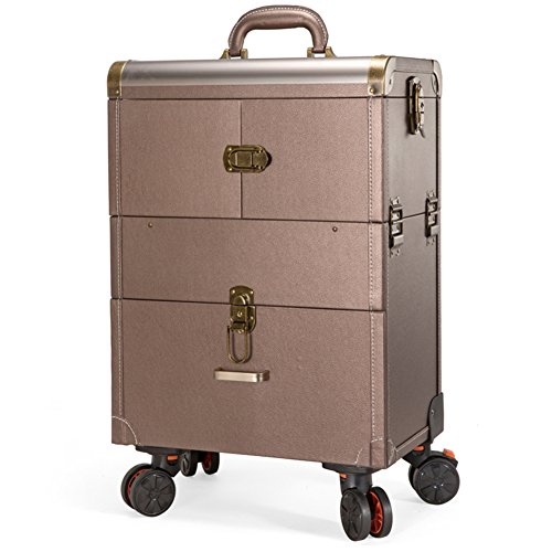 Pro Aluminum Rolling Makeup Trolley Case Salon Luggage Cosmetic Cases Box Organizer Beauty Train CaseGold