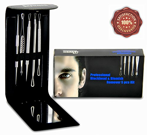 Professional Blackhead and Blemish Remover Kit 5pcs Blackheads Extractor Comedone Extractors Blemish Tools Blackhead Remover and Case with Mirror