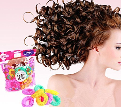 Onwon New Magic Doughnut Donut Plastic Hair Curler Curl Ringlets Wave Hairdressing Care Hairstyle Fast Spiral DIY Bendy Hair Styling Roller Curler Spiral Curls Tool Hair RollersL-6 Pcs