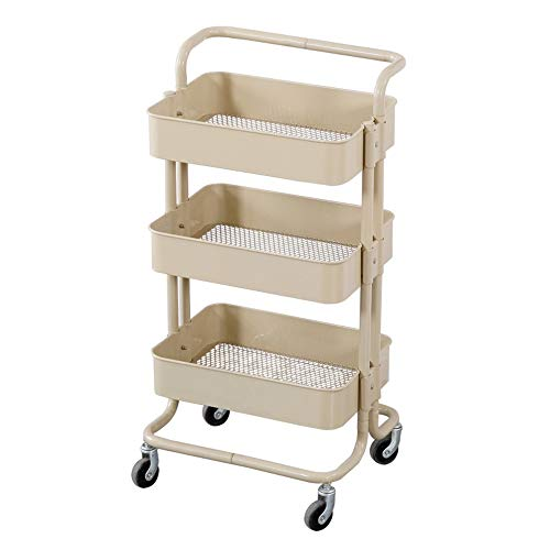 Jdeepued Hair Trolley Three Layer Grid Trolley Mobile Small Box Beauty Salon Tool Cart Kitchen Living Room Storage Rack Beauty Furniture Color  Beige Size  435x35x865cm